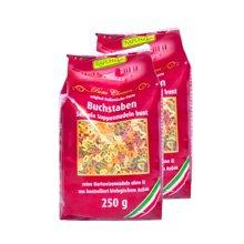 【2包装】【德国】Rapunzel长发公主有机宝宝小麦蔬菜汁彩色数字字母面条250g (红色装)
