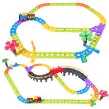 贝恩施积木轨道火车电动音乐套装益智儿童玩具 超大型