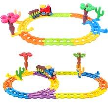 贝恩施 积木轨道火车电动音乐套装益智儿童玩具 小型
