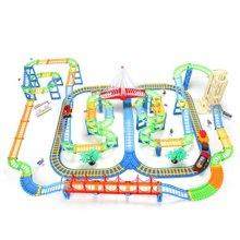 贝恩施儿童轨道火车玩具套装电动拼装多层轨道