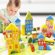 木丸子儿童积木玩具100粒桶装城市交通场景大块积木木制玩具