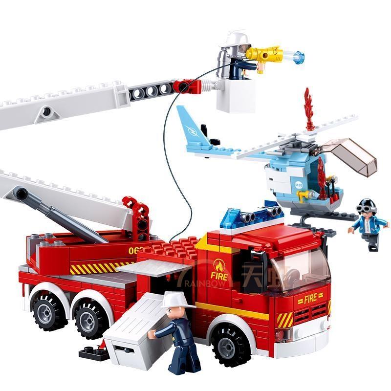 sluban小鲁班救火英雄系列男孩儿童益智拼装玩具登高平台消防车6岁
