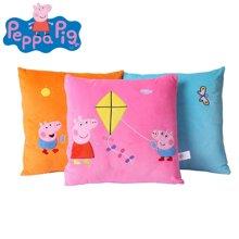 正版小猪佩奇刺绣抱枕粉红猪小妹佩佩猪亲肤毛绒沙发枕头方形抱枕