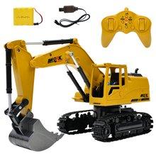 2.4G八通 合金挖掘机 1:24无线遥控挖土机 儿童充电遥控车玩具HY3853