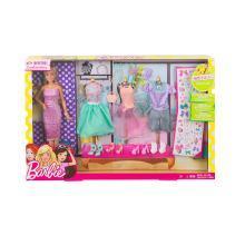 芭比娃娃Barbie芭比设计搭配礼包DVJ64 女孩玩具生日礼物套装大礼盒