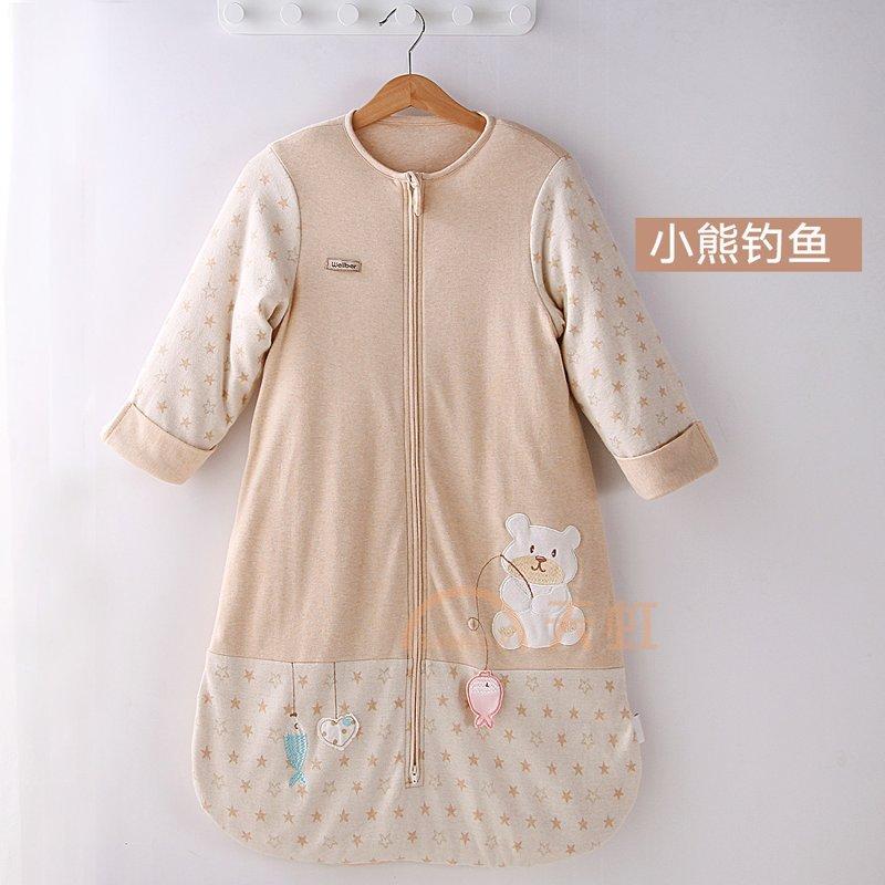 威尔贝鲁 纯棉宝宝婴儿睡袋 新生儿童防踢被 秋季薄款-小熊款-120cm