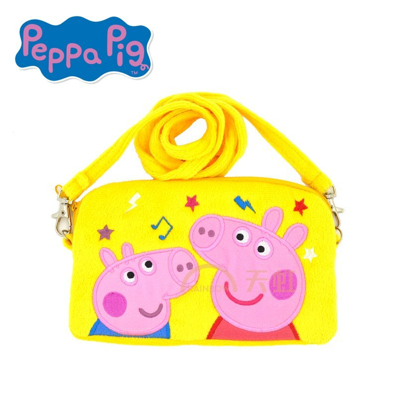 小猪佩奇刺绣斜跨包粉红猪小妹佩佩猪女孩可爱卡通斜