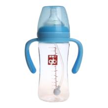 Goodbaby/好孩子 粉蓝母乳实感宽口径握把吸管260ML玻璃奶瓶 B80364