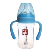 Goodbaby/好孩子 粉蓝母乳实感宽口径握把吸管180ML玻璃奶瓶 B80363
