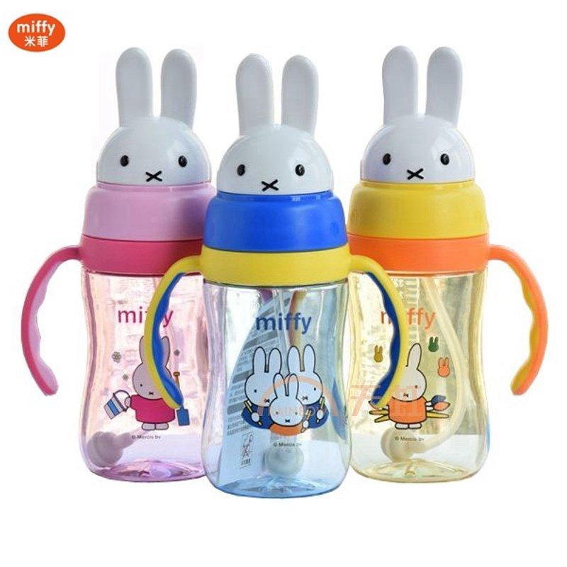 宝宝水杯 米菲头双耳吸管水杯 儿童水杯 幼儿园宝宝防漏吸管杯 儿童学