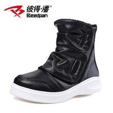 彼得潘童鞋 冬季男童马丁靴新款儿童休闲时尚潮鞋中邦保暖靴P916