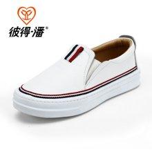 彼得潘春秋童鞋男童皮鞋儿童单鞋黑色男童休闲鞋学生板鞋女童皮鞋P903