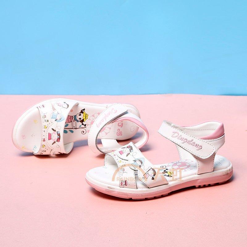 小叮当童鞋2017夏季新款韩版女童凉鞋卡通公主单鞋小童软底学生鞋7031