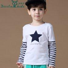 迪斯兔/disitu男童假两件长袖T恤中大童圆领打底衫韩版儿童上衣潮T1155