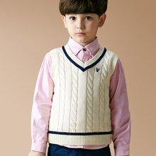 迪斯兔/disitu男童毛衣背心英伦坎肩中大童纯棉v领套头马夹儿童针织衫马甲B1523