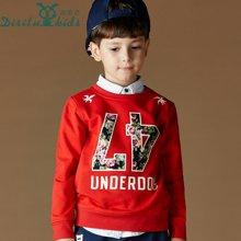 迪斯兔/disitu男童卫衣套头圆领上衣外套中大童字母打底衫儿童长袖T恤衫潮W1149