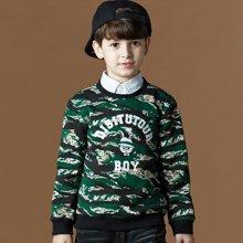 迪斯兔/disitu迪斯兔童装儿童卫衣男童圆领上衣中大童加绒加厚秋冬装新款潮W2073
