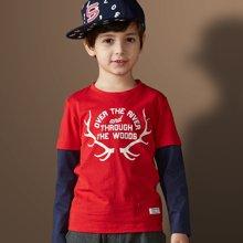 迪斯兔/disitu 男童T恤圆领套头春季新品中大童假两件T恤儿童长袖T恤韩版潮T2017