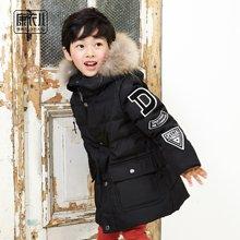康衣儿儿童羽绒服男童中长款韩版男童中大童装大毛领连帽羽绒衣
