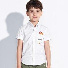 迪斯兔/disitu儿童衬衫男童短袖衬衣翻领装新款宝宝寸衫中大童纯棉上衣C1834