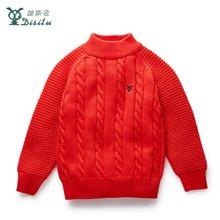 迪斯兔/disitu儿童圆领毛衣线衫保暖儿童针织衫纯色图标上衣M2412