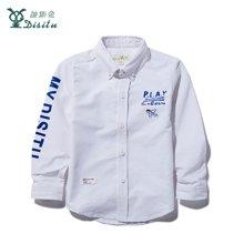 迪斯兔/disitu男童男童衬衫长袖秋季新款儿童外穿衬衣中大童纯棉白色衫衣C1832