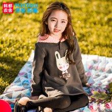 米妮哈鲁童装冬装新款女童韩版儿童宽松连帽卫衣ZW7392駺0929