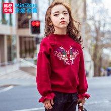 米妮哈鲁童装2018冬装新款韩版女童卫衣儿童加绒加厚上衣ZG6894燚