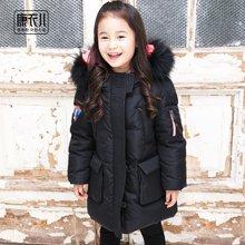 康衣儿女童羽绒服中长款黑儿童羽绒服中大童装加厚亲子装