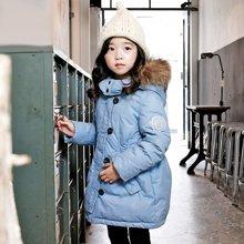 【专柜同步款】康衣儿女童羽绒服中长款儿童羽绒服女中大童韩版大毛领休闲外套