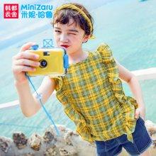 米妮哈鲁童装2018夏装新款女童韩版上衣中大童格子衬衫XE8471駺
