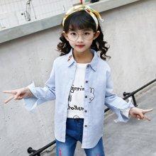 宁可缘童装女童衬衫2018秋季新款中大童韩版卡通兔条纹衬衣开衫外套Q18070609