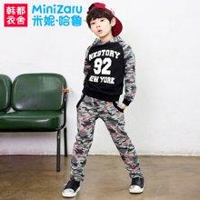 米妮哈鲁童装男童韩版中大童儿童长袖套装2018春装新款ZE7817熣