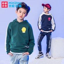 米妮哈鲁童装2018春装新款男童韩版连帽套装中大童两件套ZE7287熣