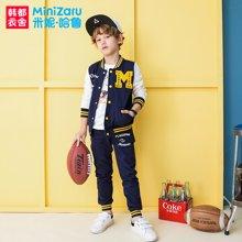 米妮哈鲁童装2018春装新款男童运动套装中大童棒球两件套ZE7077