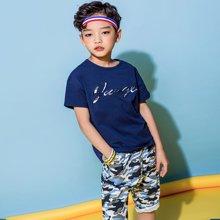 米妮哈鲁童装2018夏装新款男童韩版儿童两件套中大童套装YJ8055樂