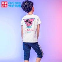 米妮哈鲁童装2018夏装新款男童韩版短袖套装中大童两件套ZE7733熣
