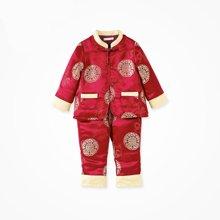 丑丑婴幼男童新年装宝宝中国风套装新年吉祥对襟男童唐装套装CGE701W