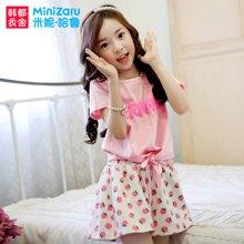 米妮哈鲁童装韩版女童套装2018夏装新款儿童时尚大童短袖两件套潮