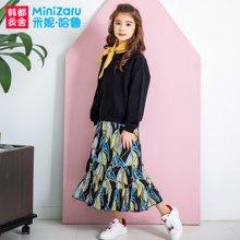 米妮哈鲁童装2018春装新款女童韩版套装儿童黑色两件套YO8546畵