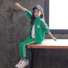 宁可缘童装女童套装2018秋季新款中大童运动数字贴标外套织带长裤两件套Q18081207