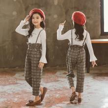 宁可缘童装女童套装2018秋季新款中大童韩版格子背带裤长袖两件套时尚潮Q18081210