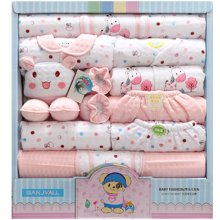 班杰威尔18件套秋冬加厚保暖新生儿礼盒纯棉婴儿内衣初生满月宝宝套装