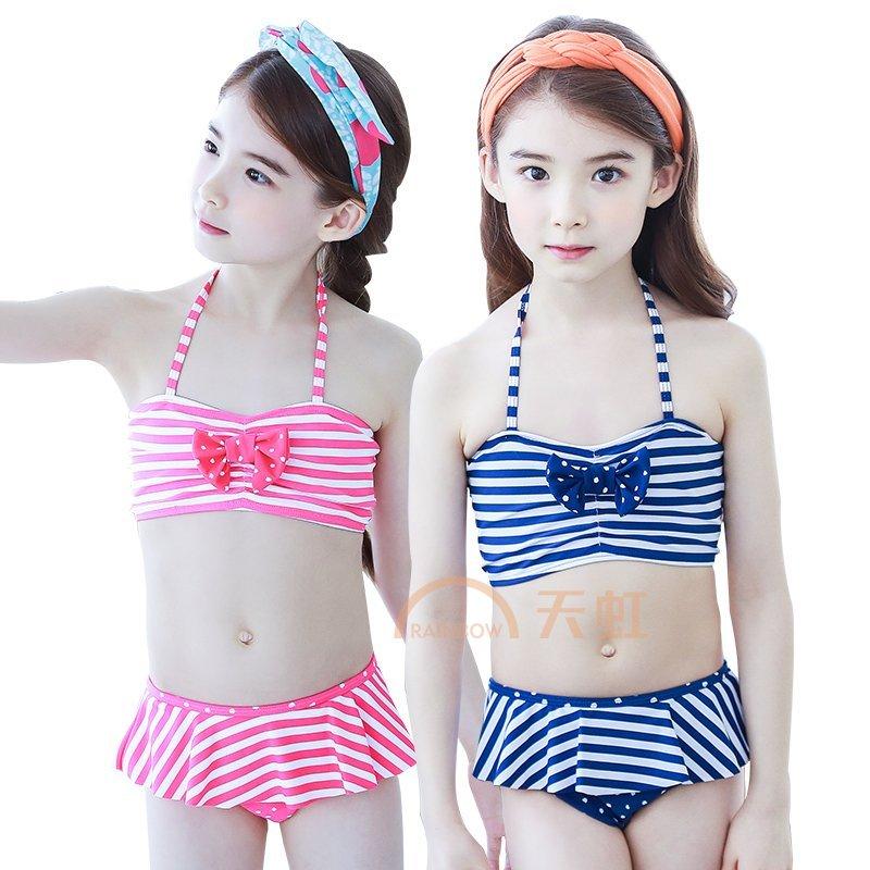 kk树儿童泳衣女孩比基尼可爱大童女童分体游泳衣夏天防晒公主泳裙 kq