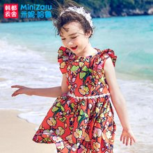 米妮哈鲁童装2018夏装新款女童韩版裙子儿童纯棉连衣裙ZR9049畵