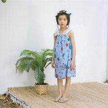 诗茵2018夏季新款韩版童装无袖吊带花纹女童连衣裙子中大儿童衣服80518