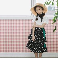 诗茵2018夏季新款韩版童装短袖束腰宽松花边女童连衣裙子亲子装80599