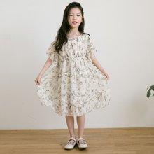 诗茵2018夏季新款韩版童装短袖雪纺女童连衣裙子沙滩裙长公主裙80630