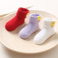 加厚小鸡婴童翻口袜三对装(米白+紫色+红色)