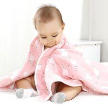 班杰威尔婴儿浴巾纯棉新生儿宝宝纱布吸水洗澡巾卡通6层毛巾被儿童盖毯